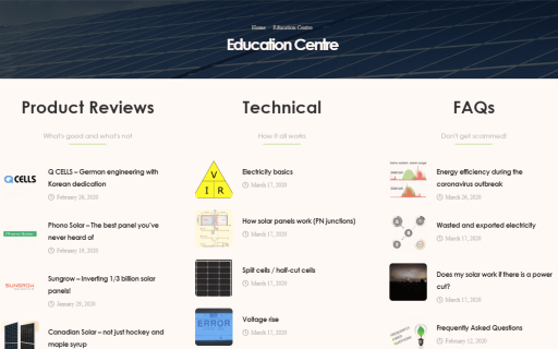 New website feature: the Education Centre!
