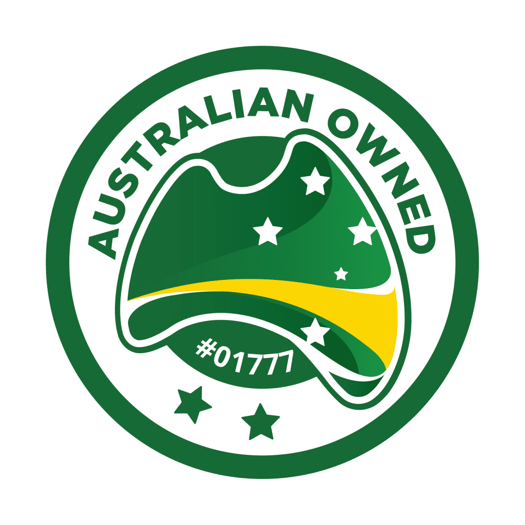 Australian Owned Logo. GI Energy has its accreditation with Australian Owned and this logo has their specific accreditation number of 01777 displayed.