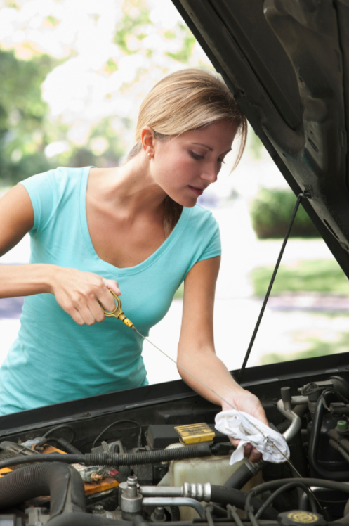 woman takes care of car to save money